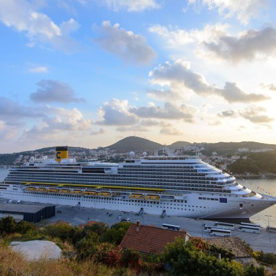 Just two days after leaving the shipyard in Trieste, the cruiser Costa Diadema from the Italian company 'Costa Crociere' visited Dubrovnik, CROATIA-03/11/2014. At 132,500 gross tons, more than 984 feet long, 121 feet wide and 1,862 guest cabins, Costa Diadema entailed a total investment of $694 million. The project involved approximately 1,000 shipyard workers plus another 2,500 subcontractors and about 400 contracted suppliers, most of which are Italian firms, engaged for the fitting-out of the interiors of the cruise ship./CROPIX_1139.01/Credit:Tonci Plazibat/CROPIX/SIPA/1411041217
