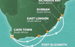 mapa azamara journey južna afrika