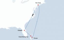 mapa ncl bliss Bahami iz New Yorka